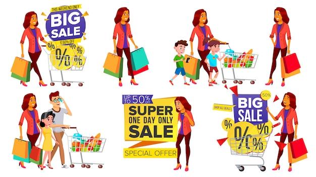 Zestaw kobieta zakupy