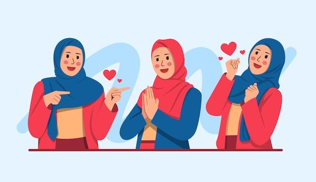 Zestaw kobiety nosić modny styl hidżabu. różne postacie kobiety