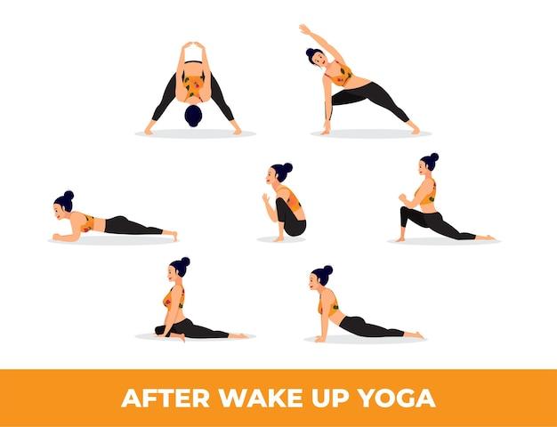 Zestaw kobiety w pozycjach jogi