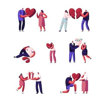 Zestaw kochanków na początku i końcu relacji miłosnych. postacie młodego mężczyzny i kobiety odrywają części złamanego serca, randki.