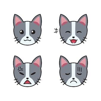 Zestaw kocich twarzy pokazujących różne emocje