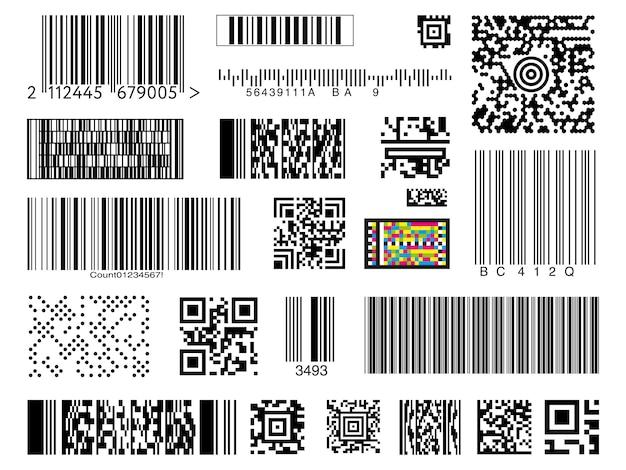 Zestaw kodów kreskowych na białym tle