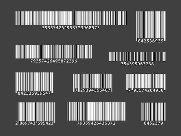 Zestaw kodów kreskowych. zbiór kodów qr. ilustracja wektorowa.