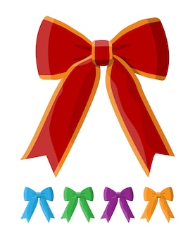 Zestaw kokardki ze wstążką. element do dekoracji, prezenty, pozdrowienia, święta. dekoracja szczęśliwego nowego roku. wesołych świąt bożego narodzenia. nowy rok i święta bożego narodzenia.