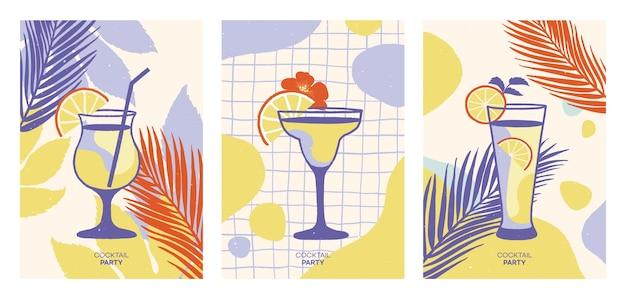 Zestaw koktajli alkoholowych. lato w tle. ilustracje.