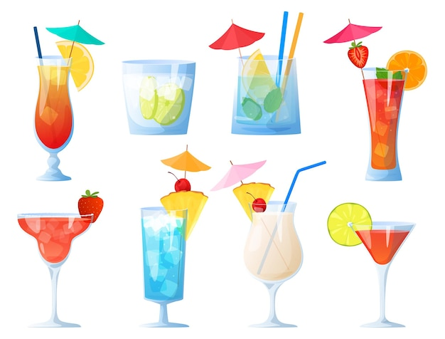 Zestaw koktajli alkoholowych na białym tle na białym tle impreza klubowa odpoczynek na plaży