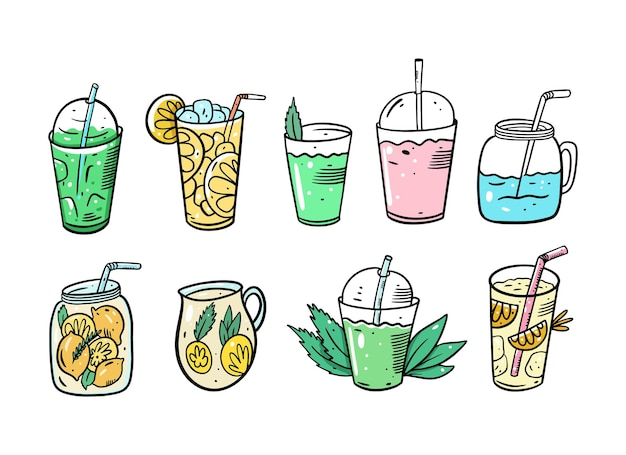Zestaw koktajli detox. lemoniada lub letnie koktajle. produkt ekologiczny. styl kreskówki. ilustracja. na białym tle