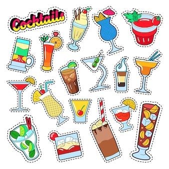 Zestaw koktajli i napojów na naklejki, odznaki i naszywki.