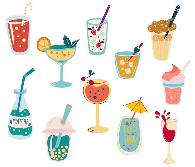 Zestaw koktajli. klasyczne drinki w różnych rodzajach kieliszków. matcha, wino, whisky, koktajl mleczny, herbata, napoje słodkie i letnie. menu koktajlowe. ilustracja wektorowa w stylu płaskiej kreskówki