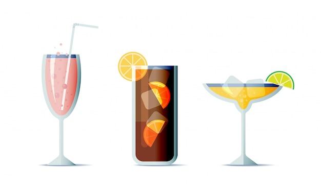 Zestaw koktajli w modnym stylu płaska konstrukcja. trzy popularne napoje alkoholowe do projektowania menu