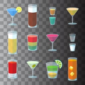 Zestaw koktajli w przezroczystych szklankach