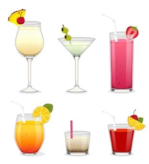 Zestaw koktajli z alkoholem i owocami