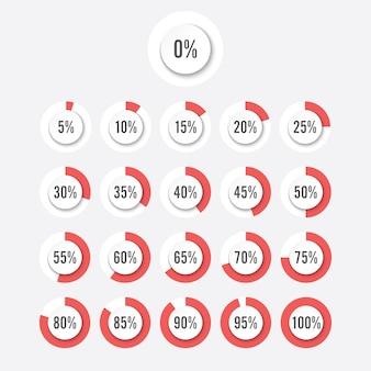 Zestaw kół procentowych diagramy dla infografiki elementów