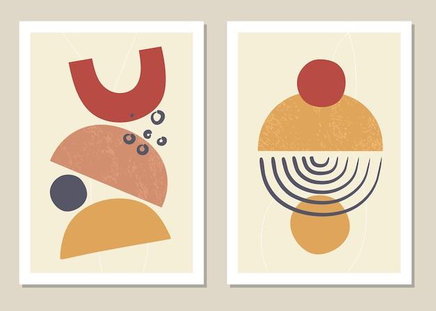Zestaw kolaży z abstrakcyjnych kształtów geometrycznych