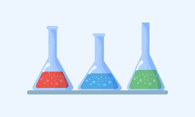 Zestaw kolb. kolby z płynami chemicznymi. laboratorium chemiczne biologii nauki i techniki. edukacja biologiczna badanie wirusów, cząsteczek, atomów, dna przez mikroskop, lupę, teleskop.