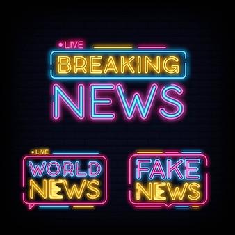 Zestaw kolekcja breaking news design neon. wiadomości ze świata, fałszywe wiadomości