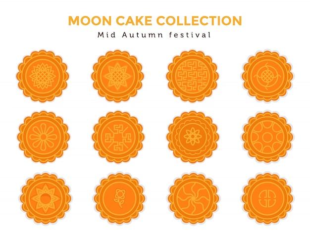 Zestaw kolekcja ciasto księżyc w połowie jesieni