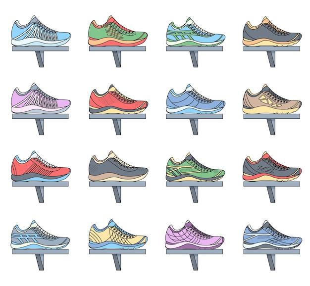 Zestaw kolekcja duży płaski ilustracja trampki do biegania