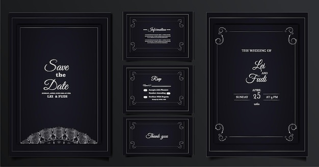 Zestaw kolekcja elegancka karta zaproszenie na ślub