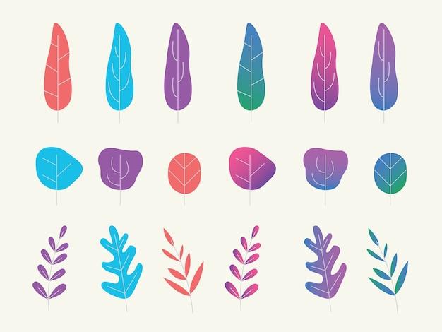 Zestaw kolekcja fantasy plantacji lub drzewa z płaskim stylu gradientu