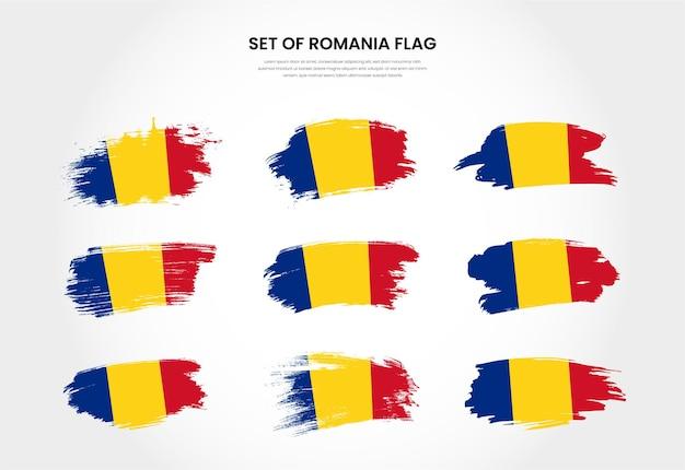 Zestaw kolekcja flagi obrysu pędzla nieczysty kraj rumunia
