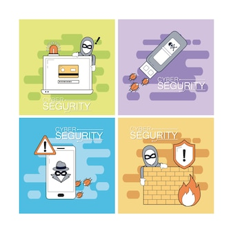 Zestaw kolekcja ikon bezpieczeństwa cyber