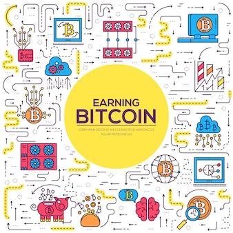 Zestaw kolekcja ikon konspektu bitcoin. pakiet symboli liniowych nowoczesnych technologii.