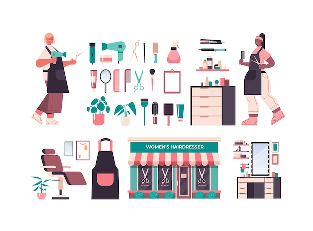 Zestaw kolekcja ikon narzędzi i akcesoriów fryzjerskich z profesjonalnymi pracownikami w jednolitej koncepcji salonu piękności poziomej pełnej długości na białym tle ilustracji wektorowych
