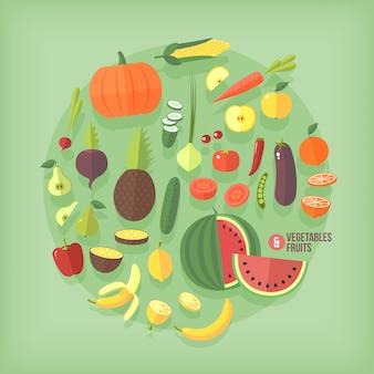 Zestaw kolekcja ikon owoców i warzyw