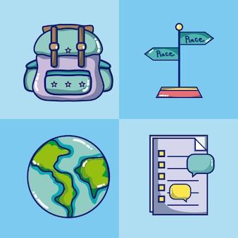 Zestaw kolekcja ikon podróży