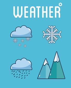 Zestaw kolekcja ikon pogody