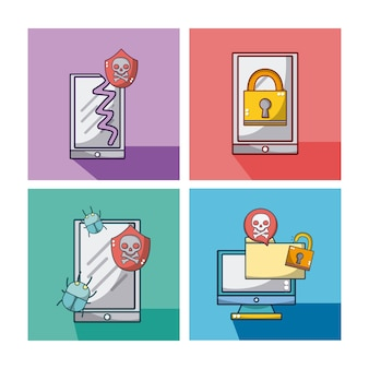 Zestaw kolekcja ikon systemu bezpieczeństwa
