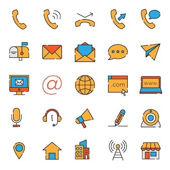 Zestaw kolekcja ikona wsparcia kontakt