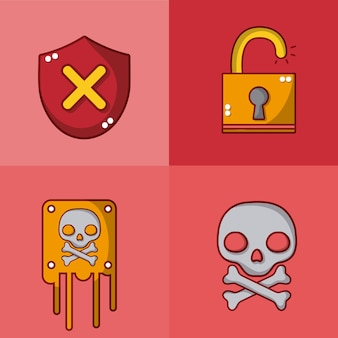 Zestaw kolekcja ikony krachu i widma