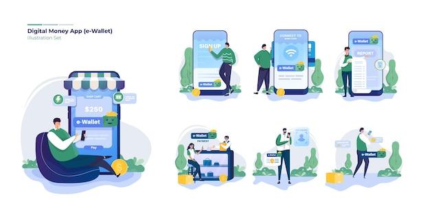 Zestaw kolekcja ilustracji aplikacji finansowych cyfrowych pieniędzy