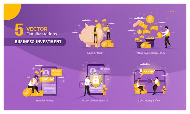 Zestaw kolekcja ilustracji inwestycji biznesowych