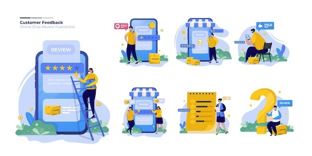 Zestaw kolekcja ilustracji przeglądu online opinii klientów