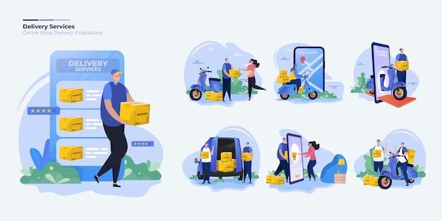 Zestaw kolekcja ilustracji usług dostawy
