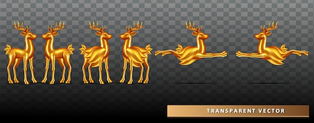 Zestaw kolekcja jelenia boże narodzenie złoto przezroczyste tło
