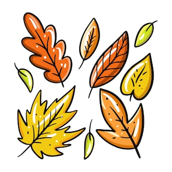 Zestaw kolekcja jesiennych liści wyciągnąć rękę.