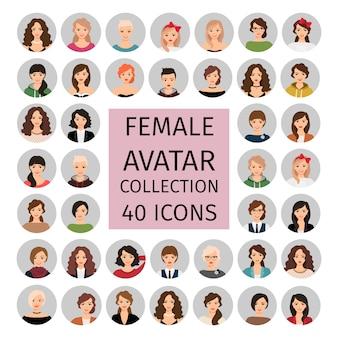 Zestaw kolekcja kobiecych awatarów