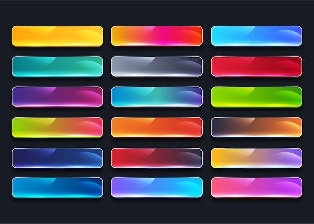 Zestaw kolekcja kolorowych przycisków internetowych