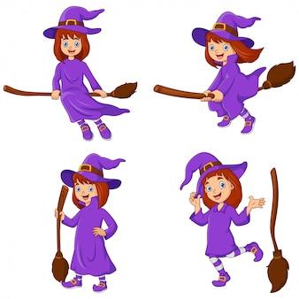 Zestaw kolekcja kreskówka czarownica