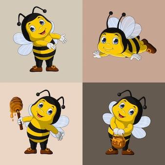 Zestaw kolekcja kreskówka pszczoły miodnej