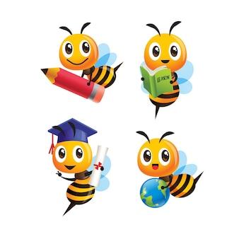 Zestaw kolekcja kreskówka śliczna pszczoła z powrotem do szkoły z trzymaniem innego przedmiotu
