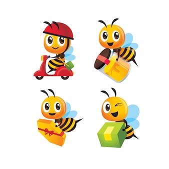 Zestaw kolekcja kreskówka słodkie pszczoły dostawy butelki miodu i paczki