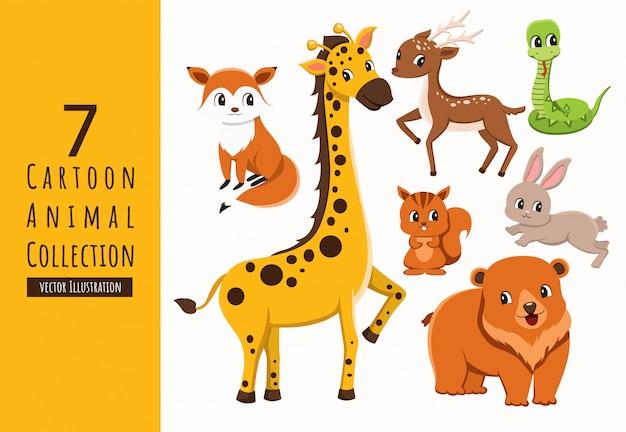 Zestaw kolekcja kreskówka zwierząt