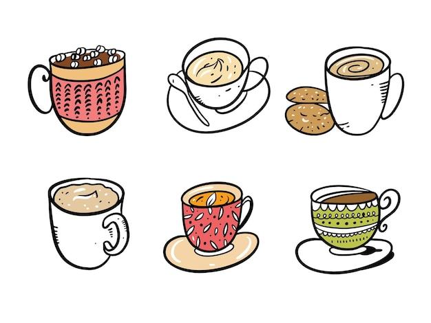 Zestaw kolekcja kubków do kawy i herbaty. ręcznie rysowane na białym tle na białym tle. styl kreskówki. projektowanie dekoracji, kart, druku, strony internetowej, plakatów, banerów, t-shirtów