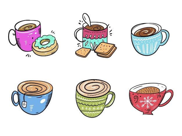 Zestaw kolekcja kubków do kawy. ręcznie rysowane na białym tle na białym tle. styl kreskówki.