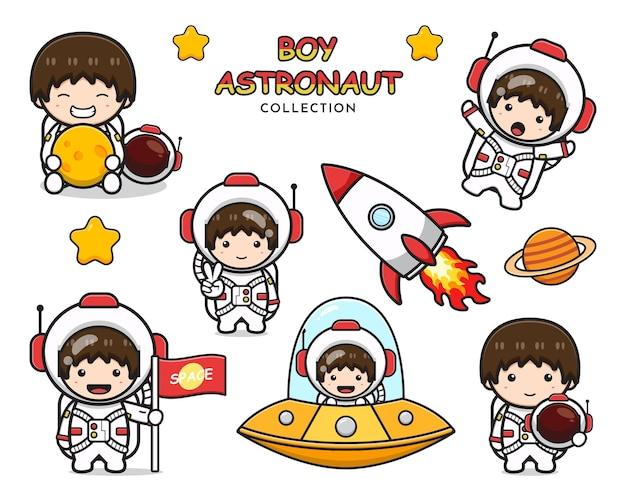 Zestaw kolekcja ładny chłopiec astronauta kreskówka ikona clipart ilustracji. zaprojektuj na białym tle płaski styl kreskówki